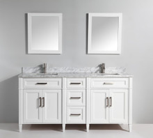 Vanity Art VA2072DW 72 Inch Double Sink Vanity Cabinet with Carrara Marjelwble Vanity Top - White