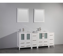 Vanity Art VA3024-72W 72 Inch Double Sink Vanity Cabinet with Ceramic Sink & Mirror - White