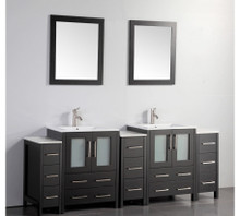 Vanity Art VA3024-84E 84 Inch Double Sink Vanity Cabinet with Ceramic Sink & Mirror - Espresso