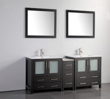 Vanity Art VA3030-72E 72 Inch Double Sink Vanity Cabinet with Ceramic Sink & Mirror - Espresso