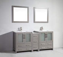 Vanity Art VA3030-72G 72 Inch Double Sink Vanity Cabinet with Ceramic Sink & Mirror - Grey
