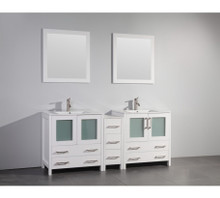 Vanity Art VA3030-72W 72 Inch Double Sink Vanity Cabinet with Ceramic Sink & Mirror - White