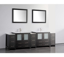 Vanity Art VA3030-96E 96-Inch Double-Sink Bathroom Vanity Set With Ceramic Vanity Top - Espresso