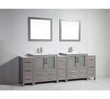 Vanity Art VA3030-96G 96-Inch Double-Sink Bathroom Vanity Set With Ceramic Vanity Top - Grey