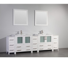 Vanity Art VA3030-96W 96-Inch Double-Sink Bathroom Vanity Set With Ceramic Vanity Top - White
