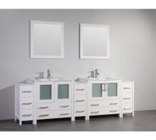 Vanity Art VA3030-96W 96 Inch Double Sink Vanity Cabinet with Ceramic Sink & Mirror - White