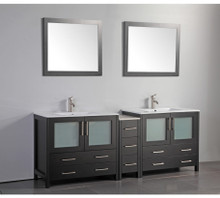 Vanity Art VA3036-84E 84 Inch Double Sink Vanity Cabinet with Ceramic Sink & Mirror - Espresso