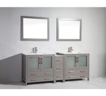 Vanity Art VA3036-84G 84 Inch Double Sink Vanity Cabinet with Ceramic Sink & Mirror - Grey
