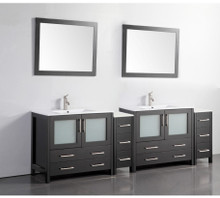 Vanity Art VA3036-96E 96-Inch Double-Sink Bathroom Vanity Set With Ceramic Vanity Top - Espresso