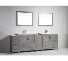 Vanity Art VA3036-96G 96-Inch Double-Sink Bathroom Vanity Set With Ceramic Vanity Top - Grey