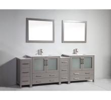 Vanity Art VA3036-96G 96 Inch Double Sink Vanity Cabinet with Ceramic Sink & Mirror - Grey