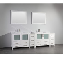 Vanity Art VA3036-96W 96-Inch Double-Sink Bathroom Vanity Set With Ceramic Vanity Top - White