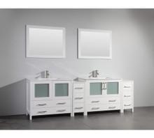 Vanity Art VA3036-96W 96 Inch Double Sink Vanity Cabinet with Ceramic Sink & Mirror - White