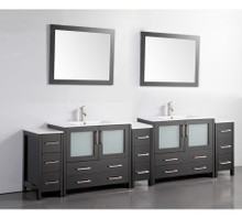 Vanity Art VA3036-108E 108-Inch Double-Sink Bathroom Vanity Set With Ceramic Vanity Top - Espresso