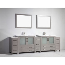 Vanity Art VA3036-108G 108-Inch Double-Sink Bathroom Vanity Set With Ceramic Vanity Top - Grey