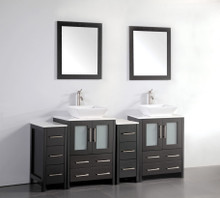Vanity Art VA3124-72E 72 Inch Double Sink Vanity Cabinet with Ceramic Vessel Sink & Mirror - Espresso