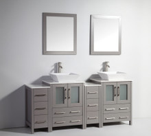 Vanity Art VA3124-72G 72 Inch Double Sink Vanity Cabinet with Ceramic Vessel Sink & Mirror - Grey