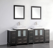 Vanity Art VA3124-84E 84 Inch Double Sink Vanity Cabinet with Ceramic Vessel Sink & Mirror - Espresso