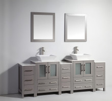 Vanity Art VA3124-84G 84 Inch Double Sink Vanity Cabinet with Ceramic Vessel Sink & Mirror - Grey