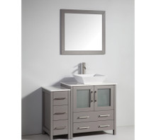 Vanity Art VA3130-42G 42 Inch Vanity Cabinet with Ceramic Vessel Sink & Mirror - Grey