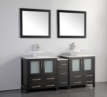 Vanity Art VA3130-72E 72 Inch Double Sink Vanity Cabinet with Ceramic Vessel Sink & Mirror - Espresso