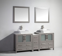 Vanity Art VA3130-72G 72 Inch Double Sink Vanity Cabinet with Ceramic Vessel Sink & Mirror - Grey