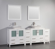 Vanity Art VA3130-84W 84 Inch Double Sink Vanity Cabinet with Ceramic Vessel Sink & Mirror - White