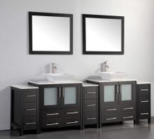 Vanity Art VA3130-96E 96 Inch Double Sink Vanity Cabinet with Ceramic Vessel Sink & Mirror - Espresso