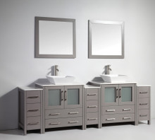 Vanity Art VA3130-96G 96-Inch Double-Sink Bathroom Vanity Set With Ceramic Vanity Top - Grey