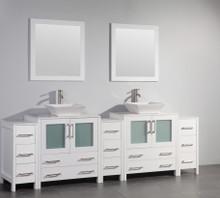 Vanity Art VA3130-96W 96 Inch Double Sink Vanity Cabinet with Ceramic Vessel Sink & Mirror - White