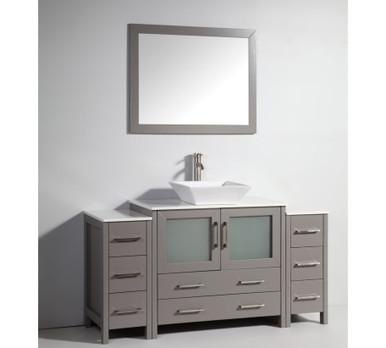 Vanity Art VA3136 60G 60 Inch Vanity Cabinet With Ceramic Sink U0026 Mirror    Grey