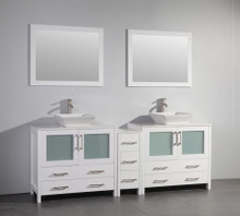 Vanity Art VA3136-84W 84 Inch Double Sink Vanity Cabinet with Ceramic Vessel Sink & Mirror - White