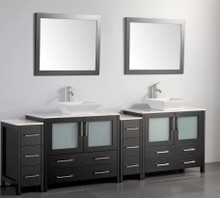 Vanity Art VA3136-96E 96 Inch Double Sink Vanity Cabinet with Ceramic Vessel Sink & Mirror - Espresso