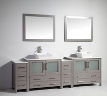 Vanity Art VA3136-96G 96-Inch Double-Sink Bathroom Vanity Set With Ceramic Vanity Top - Grey