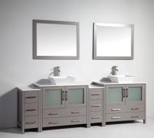 Vanity Art VA3136-96G 96 Inch Double Sink Vanity Cabinet with Ceramic Vessel Sink & Mirror - Grey