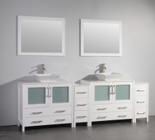 Vanity Art VA3136-96W 96-Inch Double-Sink Bathroom Vanity Set With Ceramic Vanity Top - White