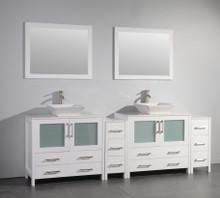 Vanity Art VA3136-96W 96 Inch Double Sink Vanity Cabinet with Ceramic Vessel Sink & Mirror - White