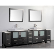 Vanity Art VA3136-108E 108-Inch Double-Sink Bathroom Vanity Set With Ceramic Vanity Top - Espresso