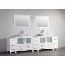 Vanity Art VA3136-108W 108-Inch Double-Sink Bathroom Vanity Set With Ceramic Vanity Top - White
