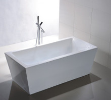 "Vanity Art VA6814 59"" Bathroom Freestanding Acrylic Soaking Bathtub - White"