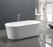 "Vanity Art VA6809 63"" Bathroom Freestanding Acrylic Soaking Bathtub - White"