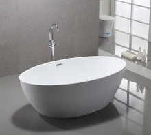 "Vanity Art VA6834 69"" Bathroom Freestanding Acrylic Soaking Bathtub - White"