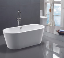 "Vanity Art VA6812 67.7"" Bathroom Freestanding Acrylic Soaking Bathtub - White"