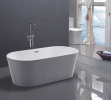 "Vanity Art VA6815 59"" Bathroom Freestanding Acrylic Soaking Bathtub - White"