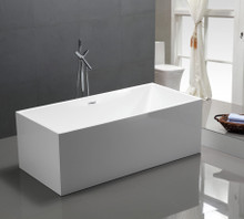 "Vanity Art VA6813B 59"" Bathroom Freestanding Acrylic Soaking Bathtub - White"