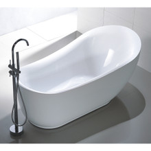 "Vanity Art VA6512-L 71"" Bathroom Freestanding Acrylic Soaking Bathtub - White"