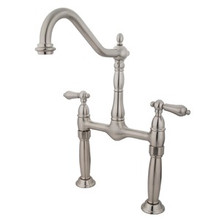 Kingston Brass Two Handle Bridge Vessel Sink Lavatory Faucet - Satin Nickel