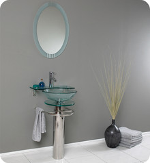 "FVN1019 Fresca Ovale 24"" Modern Glass Bathroom Vanity w/ Frosted Edge Mirror"