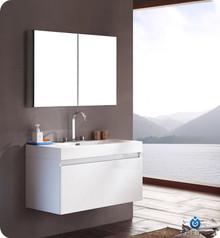 "FVN8010WH Fresca Mezzo 39"" White Modern Bathroom Vanity w/ Medicine Cabinet"
