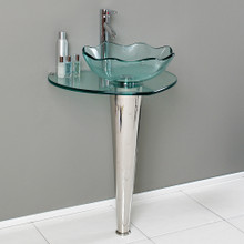"Fresca  CMB1036-V Fresca Netto 24"" Bathroom Pedestal with Glass Countertop & Vessel Sink"